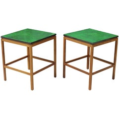 Pair of Enamel Top End Tables by P. Torneman for NK