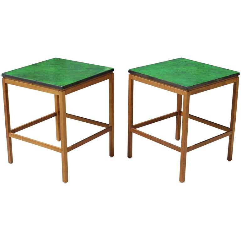 Pair of Enamel Top End Tables by P. Torneman for NK For Sale