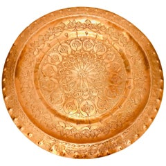 Moroccan Polished Round Metal Copper Tray