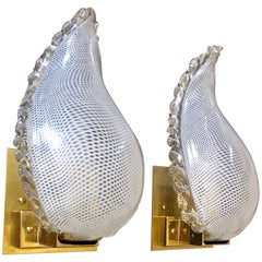 Pair of Murano Latticino Leaf Form Wall Sconce Lights