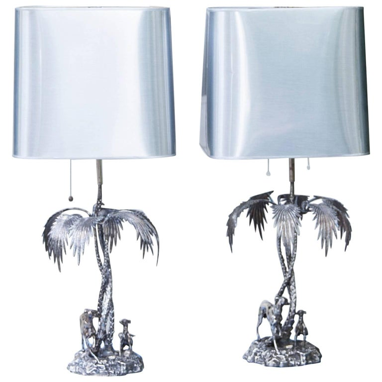 Valenti Silver Plated Table Lamp Spain, 1970s