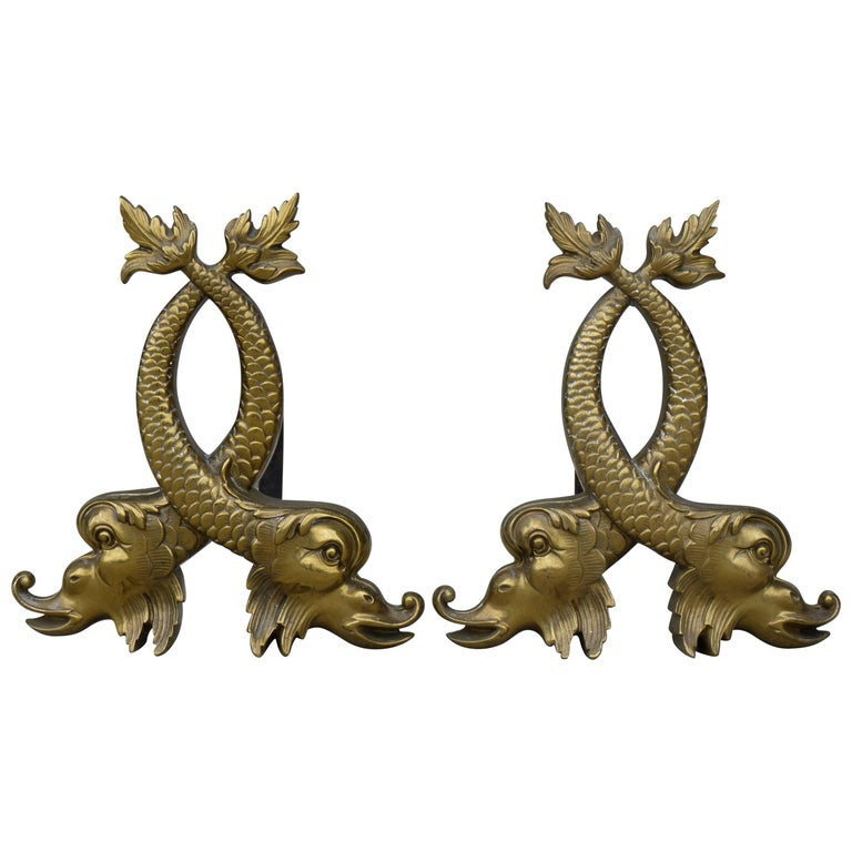 Pair of 1920s Dolphin Andirons For Sale