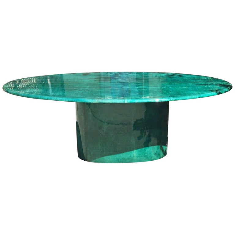Aldo Tura Green Goatskin Conference Dining Table, 1970