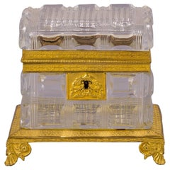 French Bronze and Faceted Crystal Box, Empire, circa 1820
