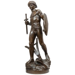 Antique Bronze Figure of a Young Handsome Warrior, Artist Signed