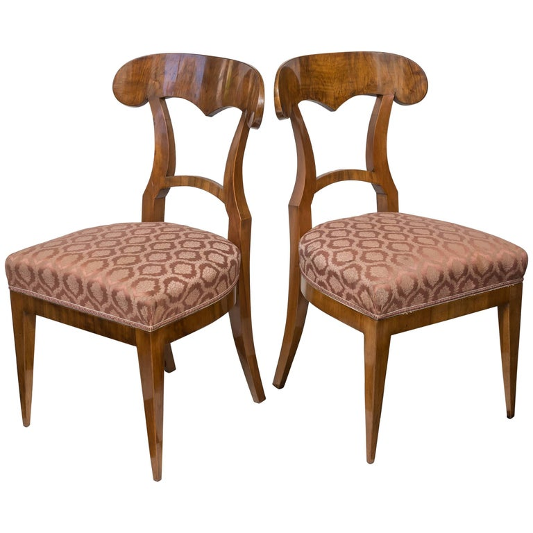 Pair of Biedermeier Walnut Side Chairs