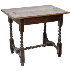 Mid-Georgian Twist Turned Oak Side or Sofa Table, Good Scale, circa 1750