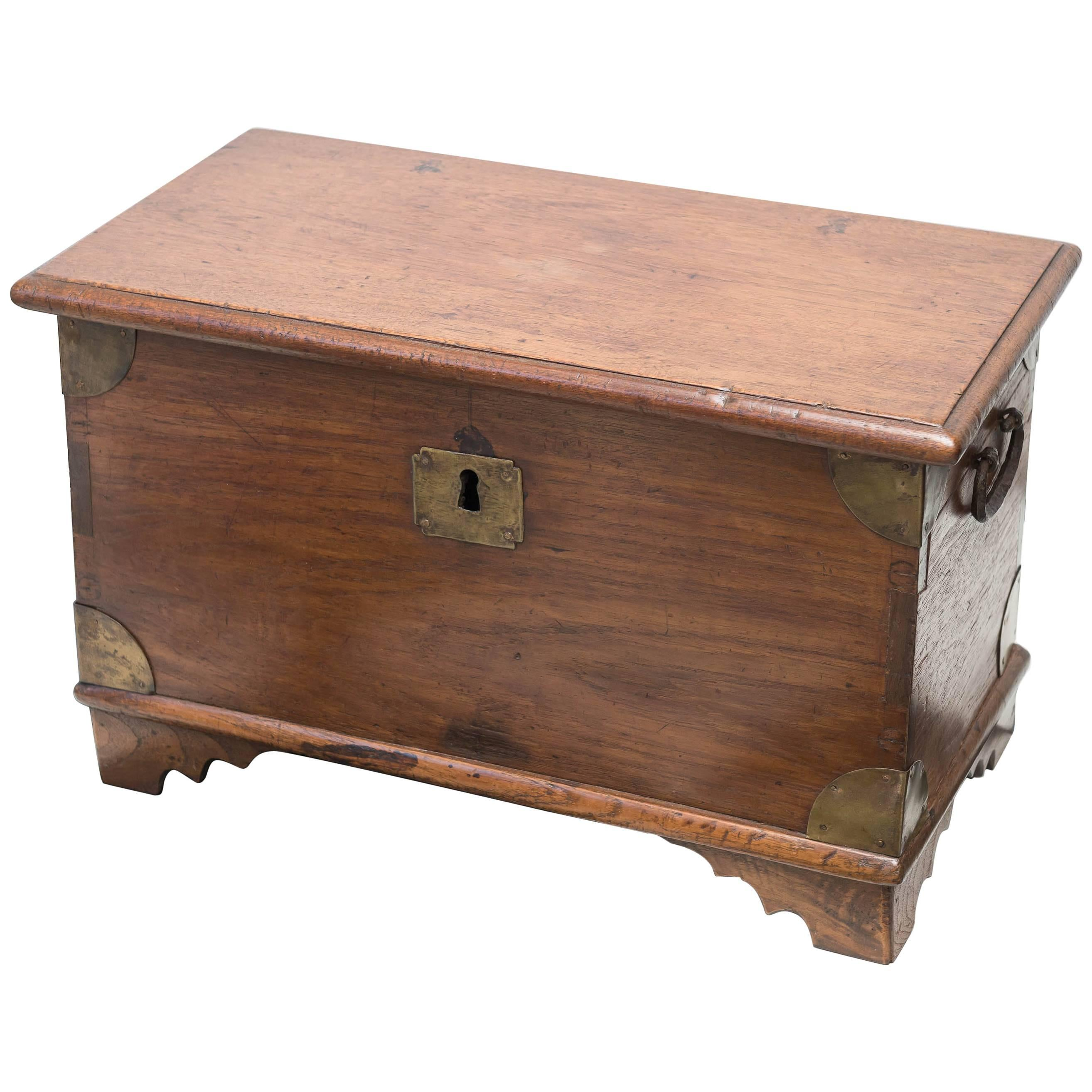 Antique French Traveling Curved Top And Brass Riveted Wood Trunk