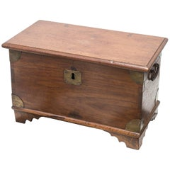 Diminutive Late 19th Century Anglo Indian Trunk Raised on Small Bracket Feet