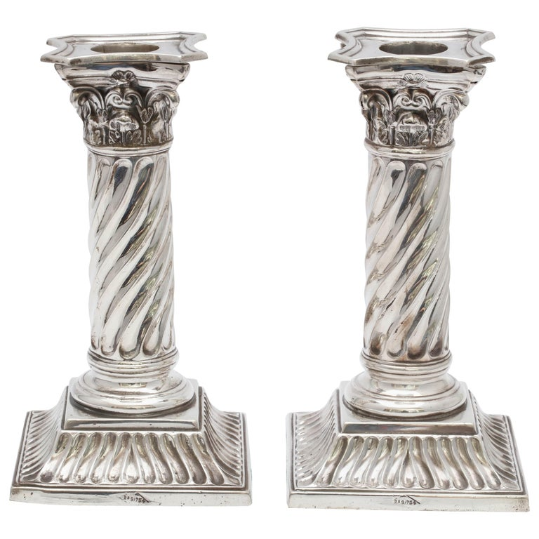 Pair of Sterling Silver Victorian Neoclassical Corinthian Column Candlesticks For Sale