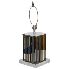 Monumental Art Deco Mirrored Table Lamp, France, 1940s
