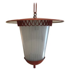 French 1950s Tole and Opaline Lantern