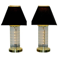 Mid-Century Modern Pair of Table Lamps Brass Glass Sciolari Lightolier, 1970s