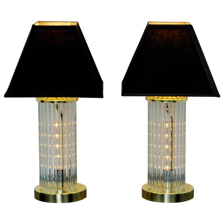 Mid-Century Modern Pair of Table Lamps Brass Glass Sciolari Lightolier, 1970s For Sale