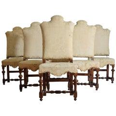 Italian Baroque Period Set of Six Turned Walnut Dining Chairs, 18th Century