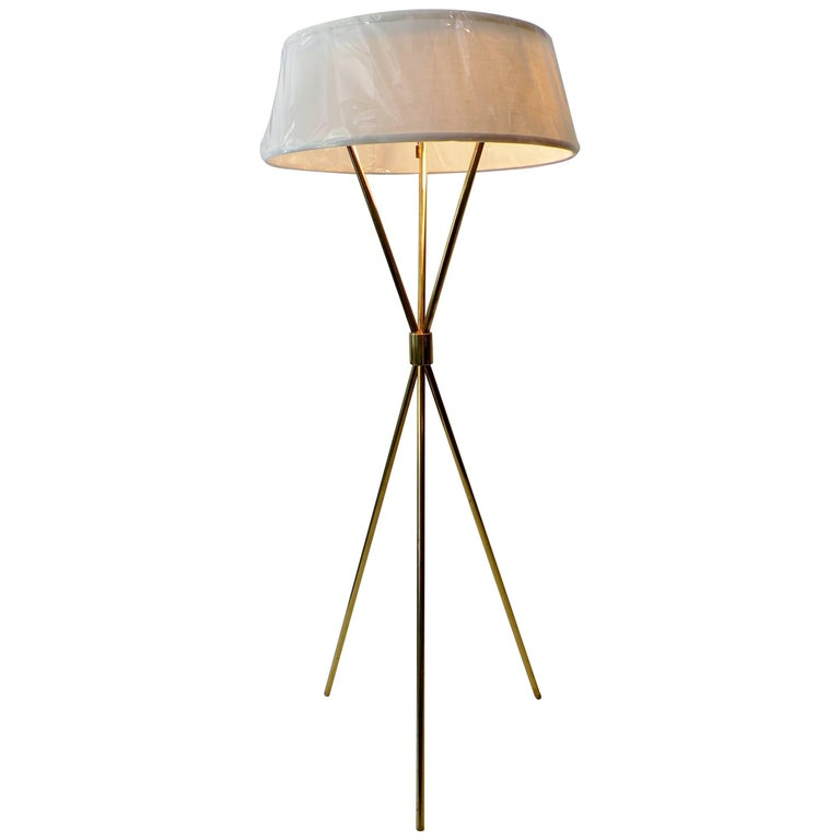 T.H. Robsjohn-Gibbings Paul Hansen NY Brass Tripod Floor Lamp For Sale