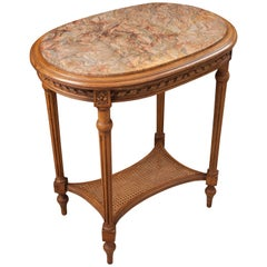 French 19th Century Walnut Louis XVI Table with Marble-Top