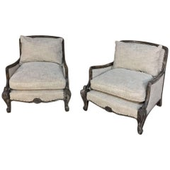 Pair of Antique French Louis XV Linen Upholstered Armchairs, Bergeres
