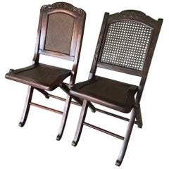 Antique Near Pair of Handcrafted, Chinese Folding Traveller's Chairs W. Webbing