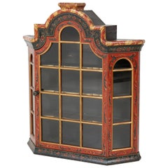 Dutch Provincial Hindelopen Painted Wall Cabinet, 1930s