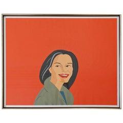 Mid-Century Modern Framed Big Red Smile Signed Alex Katz Numbered 32/40