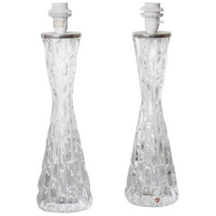 Tall Pair of 1970s Clear Crystal Orrefors Lamps