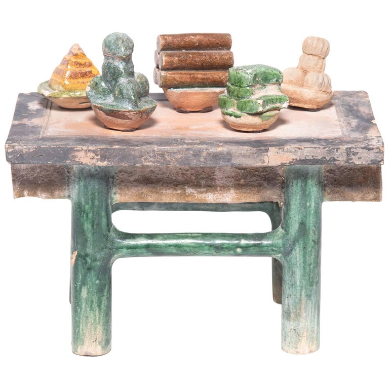 Chinese Celestial Mingqi Table with Offerings