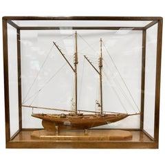 Model Schooner Boat Diorama Encased in Glass Cabinet