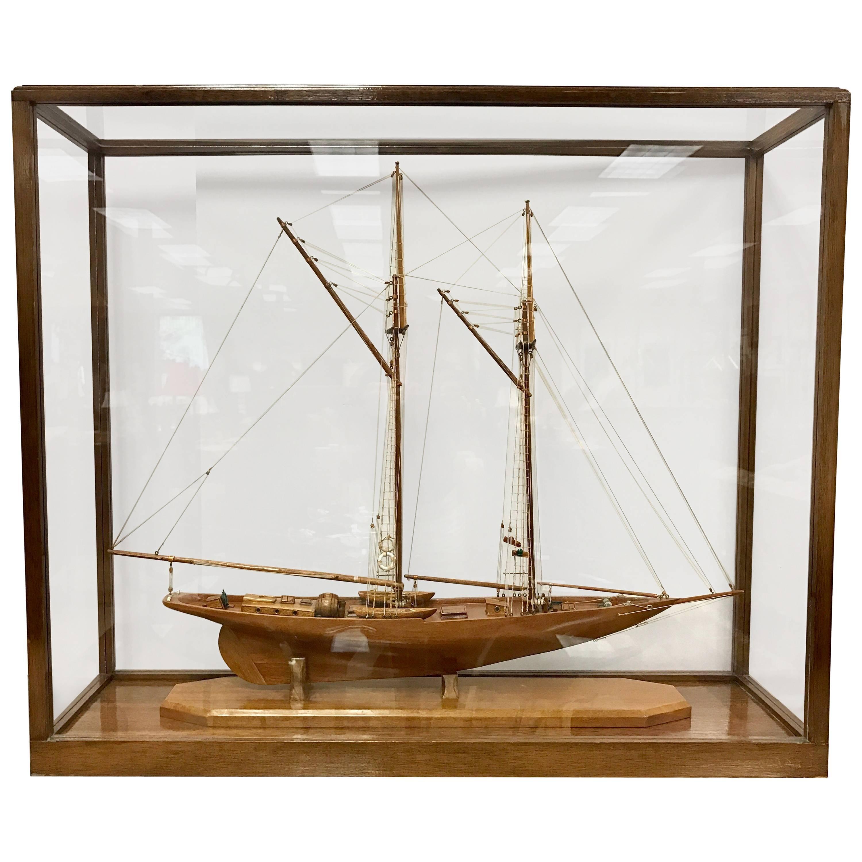 Model Schooner Boat Diorama Encased In Glass Cabinet For Sale