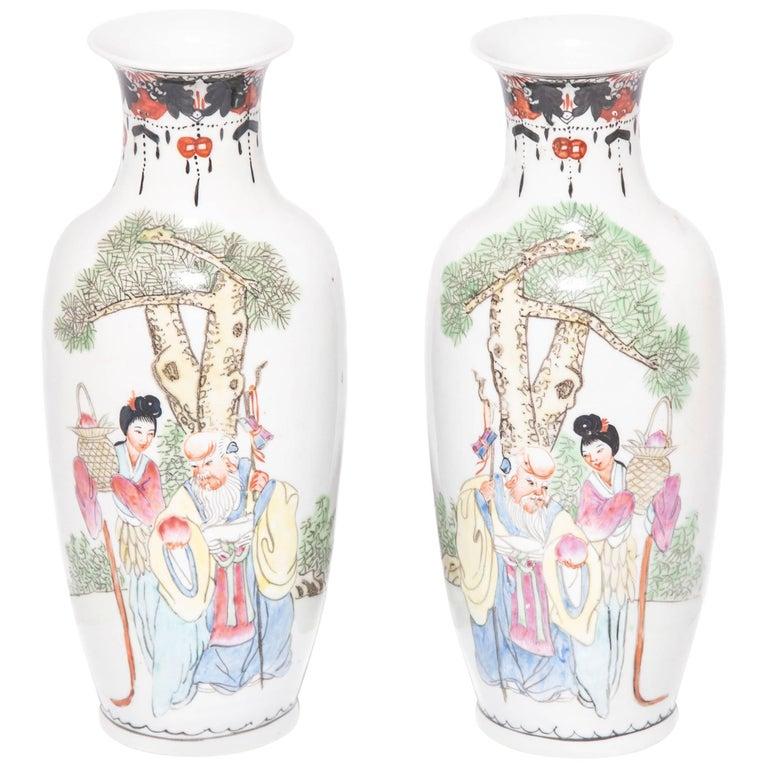 Pair of Petite Chinese Garden Pavilion Fantail Vases