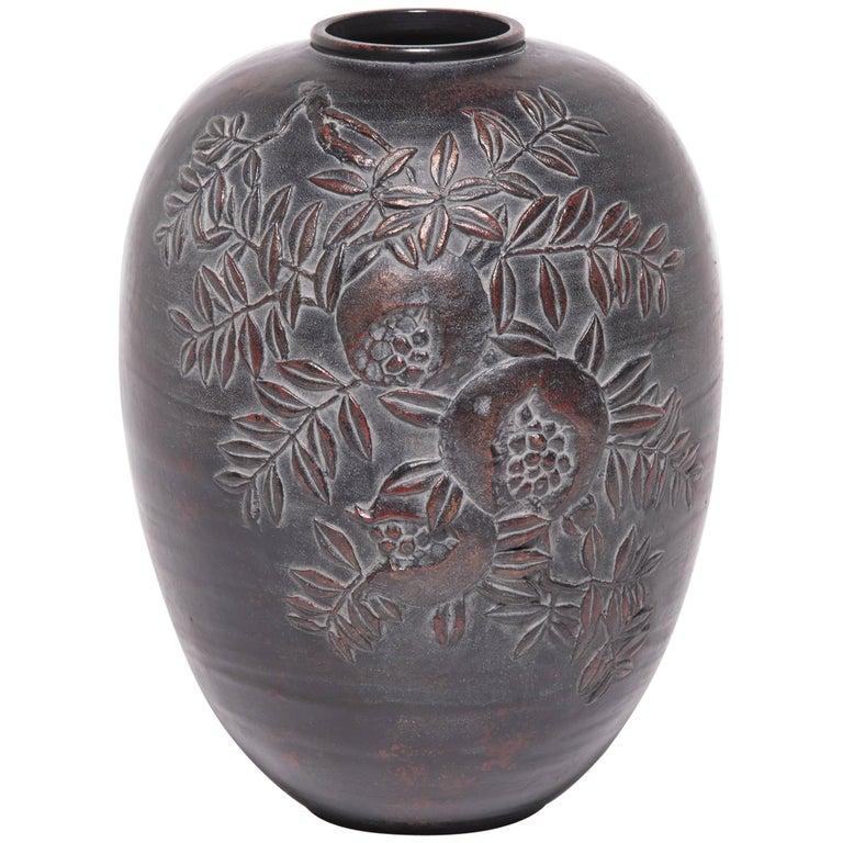 Japanese Zinc Pomegranate Vase At 1stdibs
