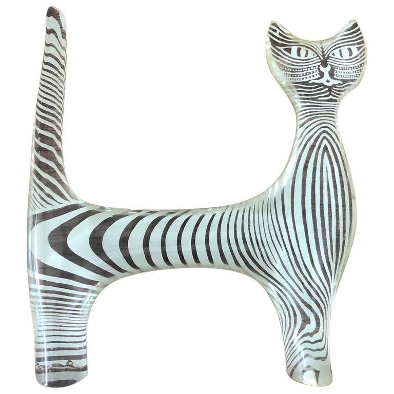 Midcentury Lucite Cat Sculpture by Abraham Palatnik For Sale