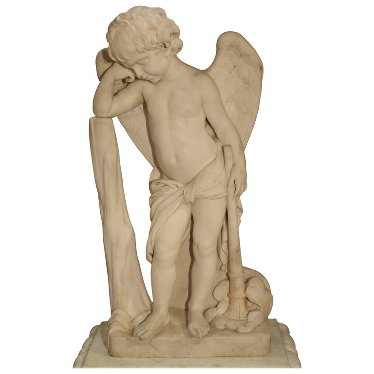 Antique Italian Marble Statue of a Cherub, 19th Century