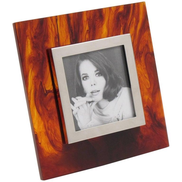 Italian Studio Silva 1970s Tortoiseshell Lucite and Chrome Picture Photo Frame