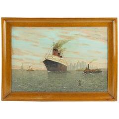 French Louis Sedroc SS Normandie Transatlantic Ocean Liner in New York Painting