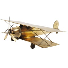 Large World War I Biplane Brass Airplane Model Aviation Collection