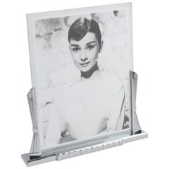 Large French Art Deco Modernist Chrome Picture Photo Frame