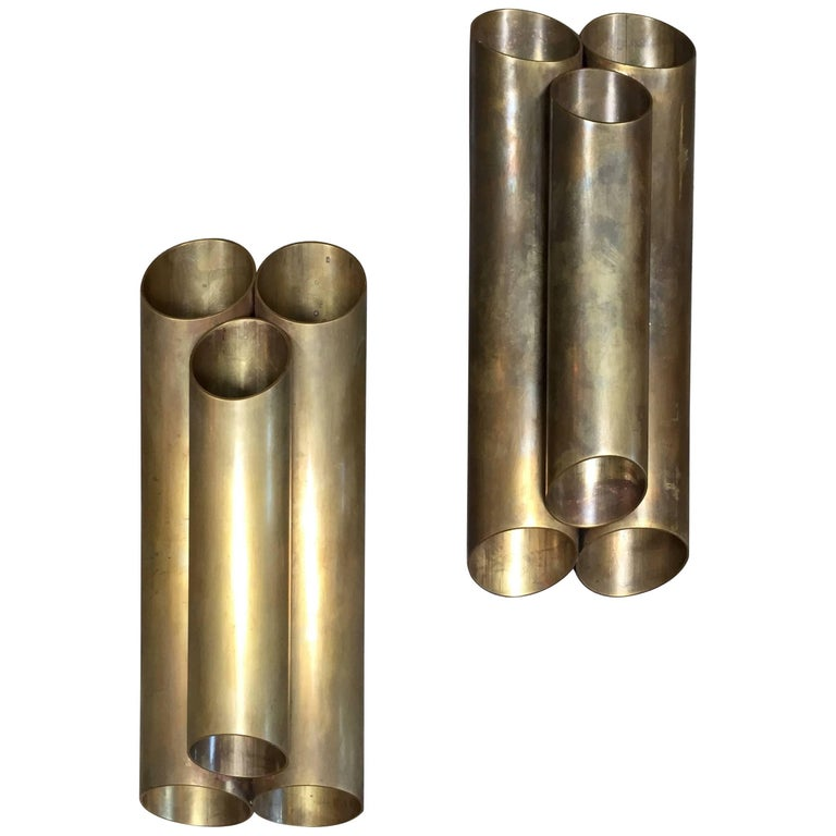"Pair of Italian Sconces ""Tubolari"", Full Brass, 1940s For Sale"