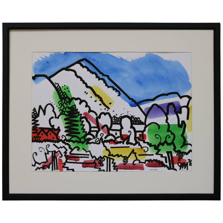 Colorful Watercolor by James McCray #1 For Sale