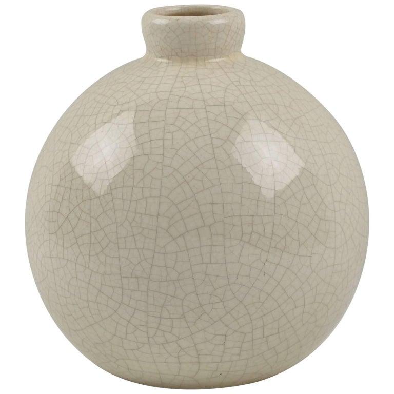 Saint Clement France Art Deco Crackled Glaze Ceramic Pottery Vase