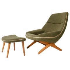 Sculptural Lounge Chair and Ottoman by Illum Wikkelso