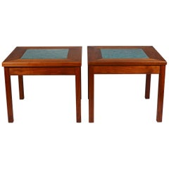 Pair of Brown Saltman Constellation Side Tables with Enameled Copper Insert