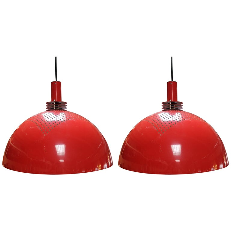 Pair of Vintage Red Pendant Lamps