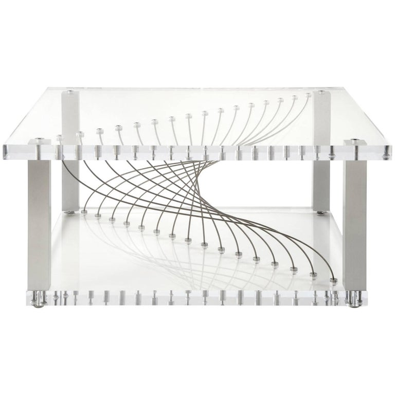 Acrylic Argon 'in Stock' Modern Industrial Plexiglas Metal & Lucite Coffee Table