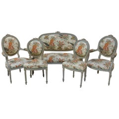 19th Century Fine French Louis XVI Carved Five-Piece Salon Suite