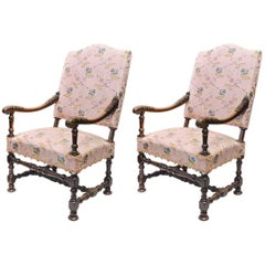 Pair of Late 17th Century French Walnut Framed Fauteuils