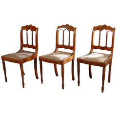 19th Century Set of Three Mahogany Chairs with Open Backs, France