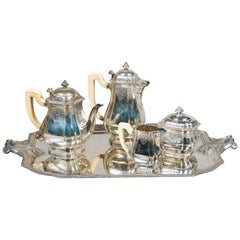 "Lappara ""Blois"" French Silver Tea and Coffee Set and Silver Tray"