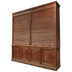 Large Double Sliding Shutter Doors File Office Cabinet, circa 1900