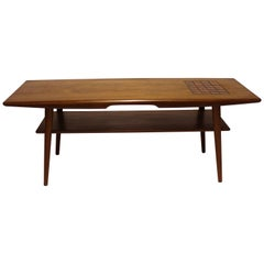 Coffee Table in Teak with Tiles in Dark Colors of Danish Design, 1960s